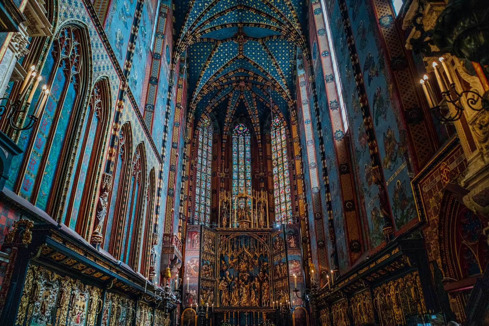 The gorgeous inside of St. Mary's Basilica in Krakow