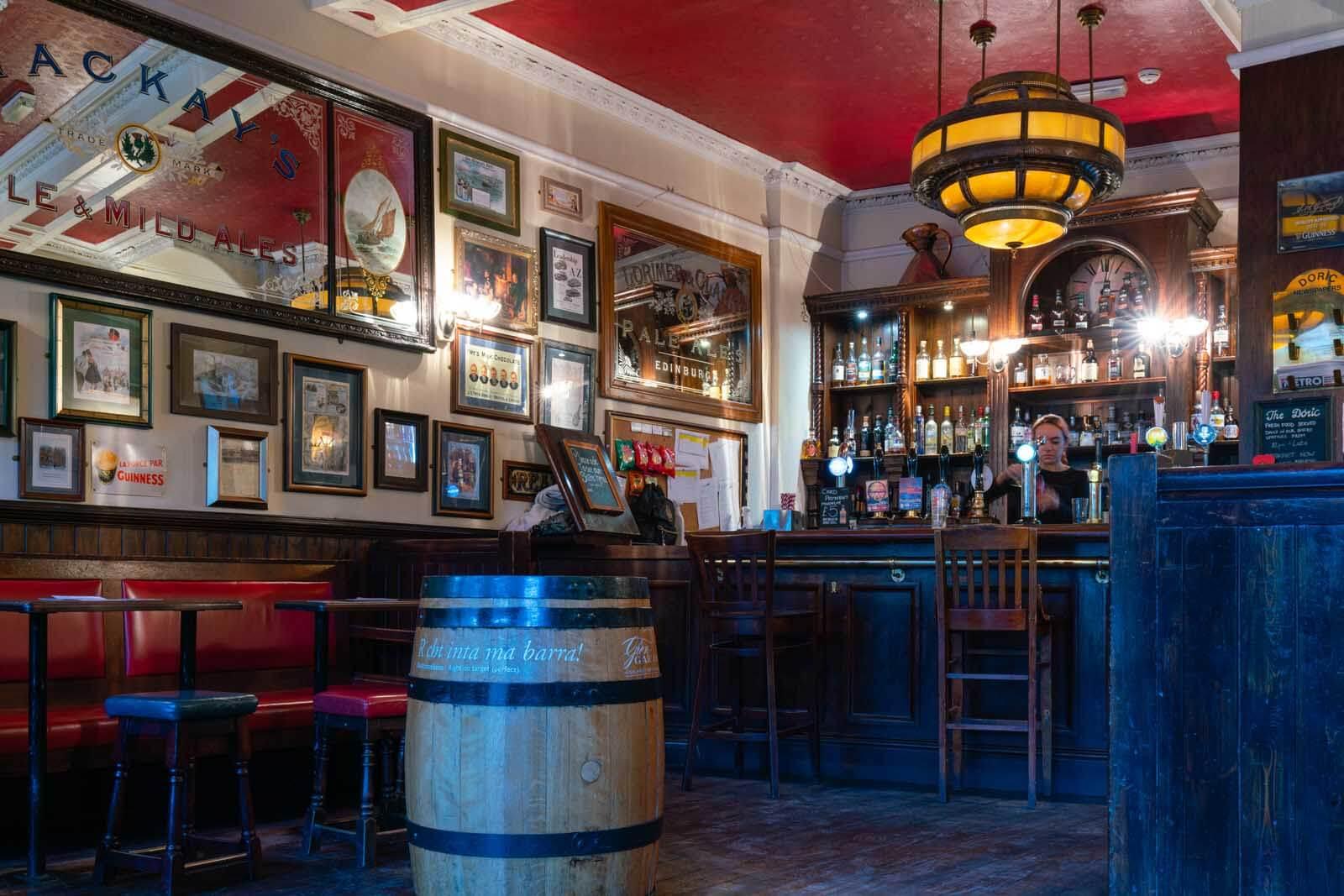 Inside the Doric pub in Edinburgh