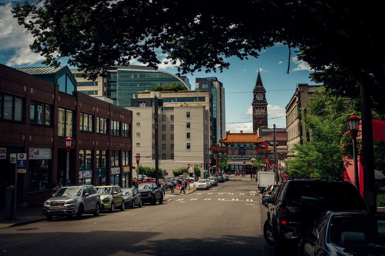 International District and Chinatown neighborhood of Seattle Washington