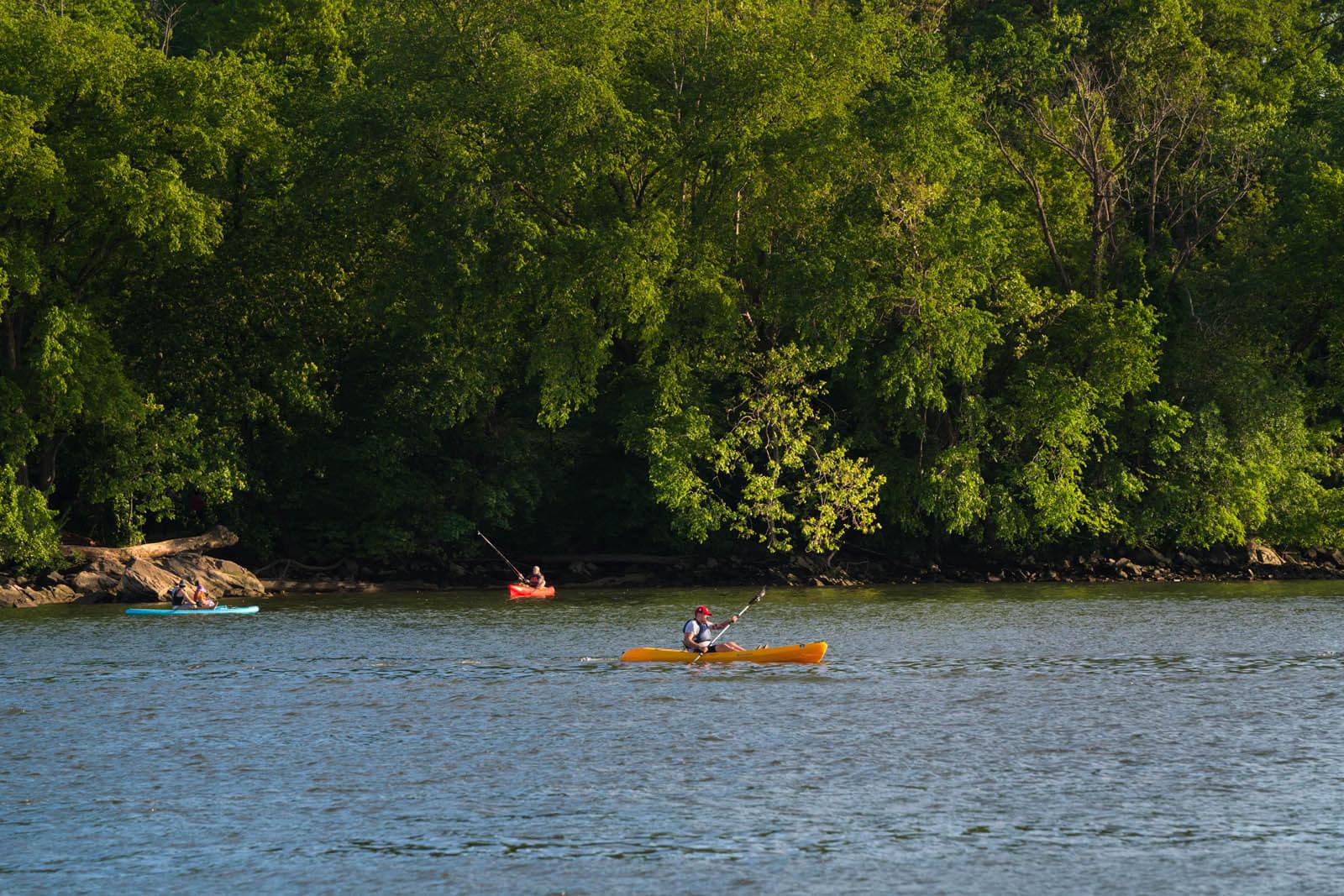 Kayaks on the Potomac River in Georgetown Washington DC