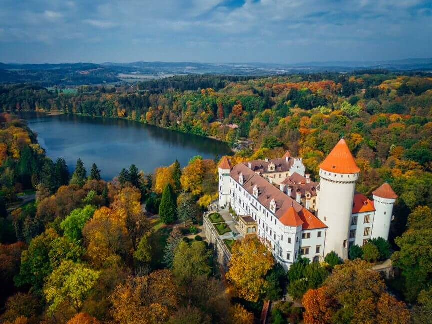 Aerial view of Konopiste Chateau in Central Bohemia Czech Republic