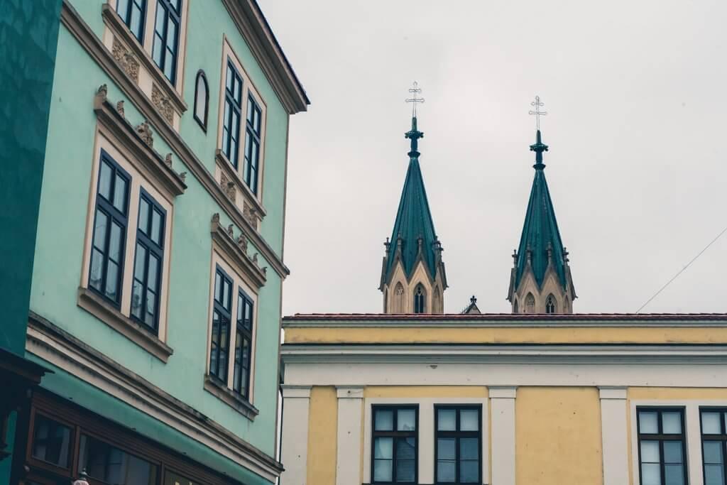 The church spires of Church of St. Moritz in Kromeriz