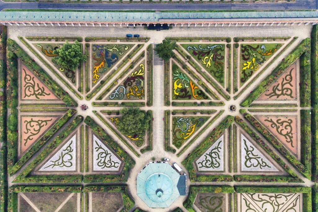 Kromeriz Gardens from a birds eye view drone photo