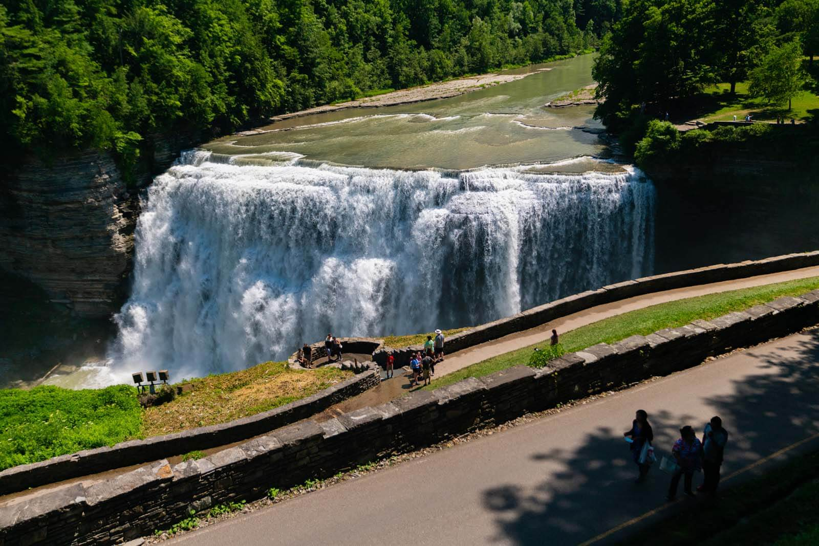 Letchworth State Park waterfall and trail in New York