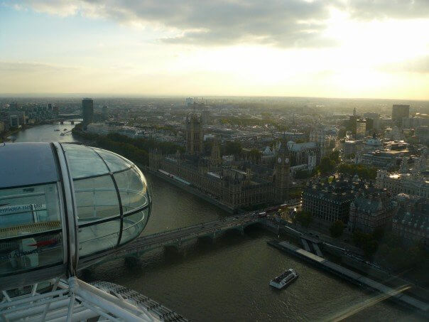 View of the london eye from above