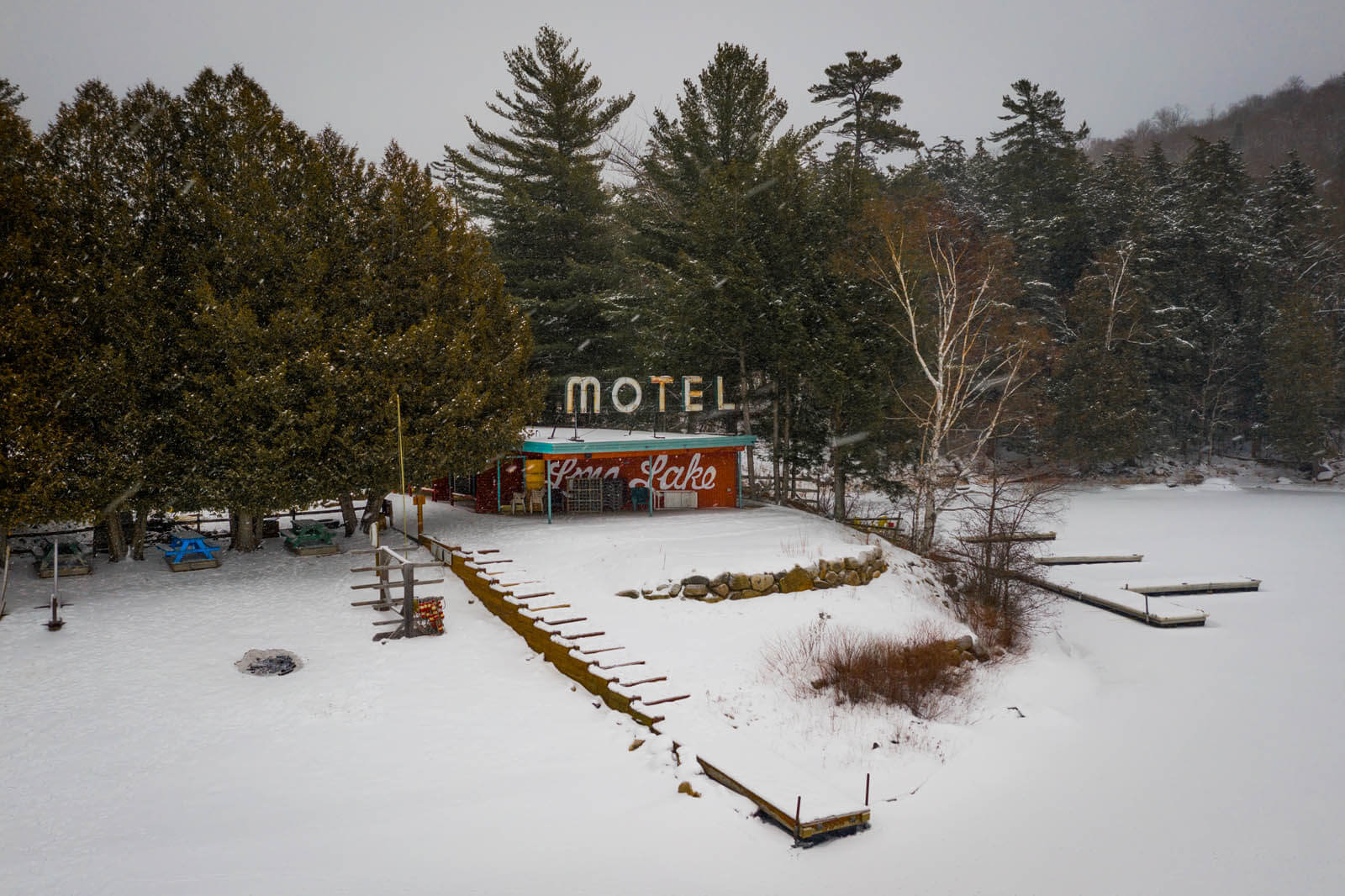 Long Lake Motel in the Adirondacks New York during a snow storm