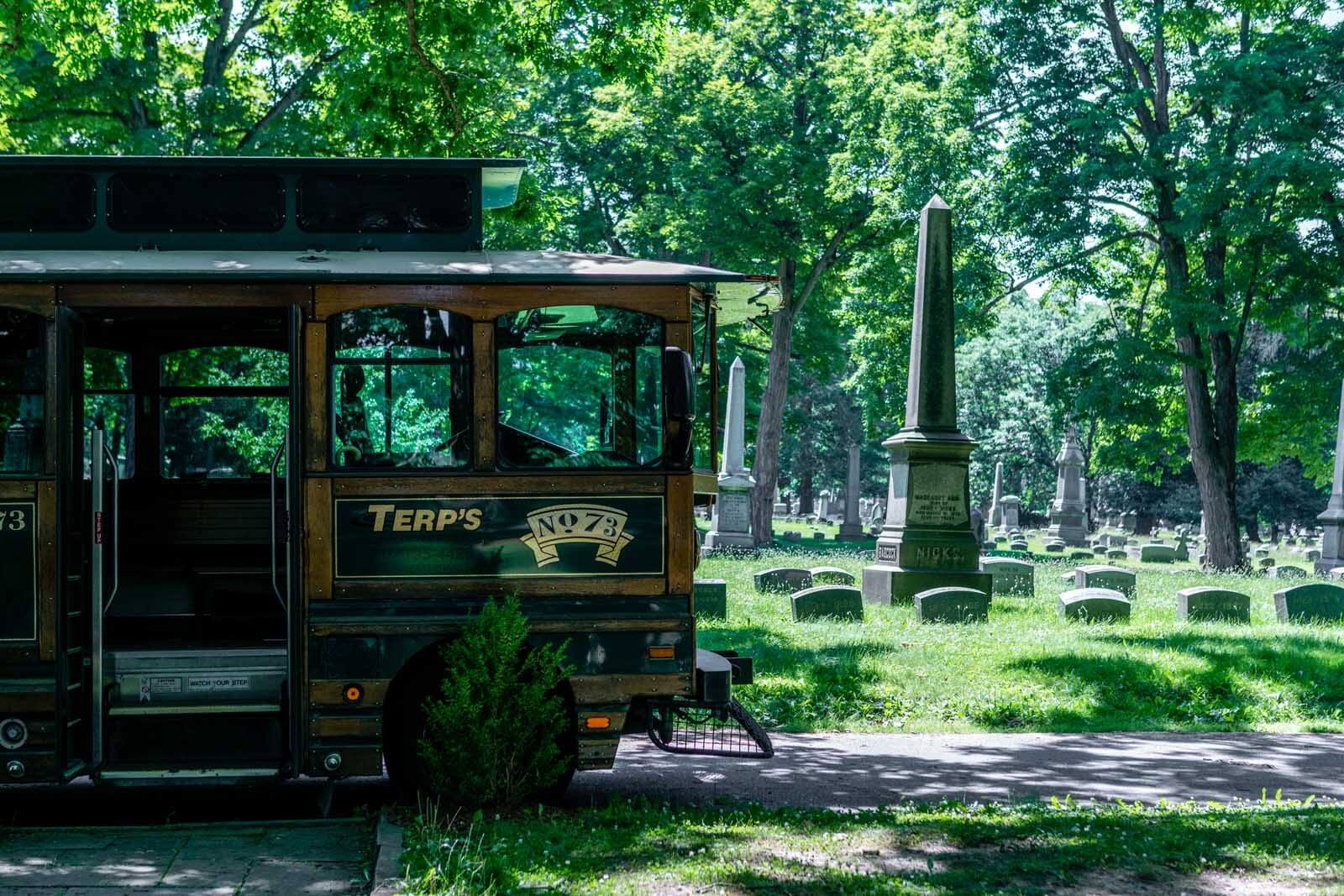 The Mark Twain Trolley in Woodlawn Cemetery in Elmira New York