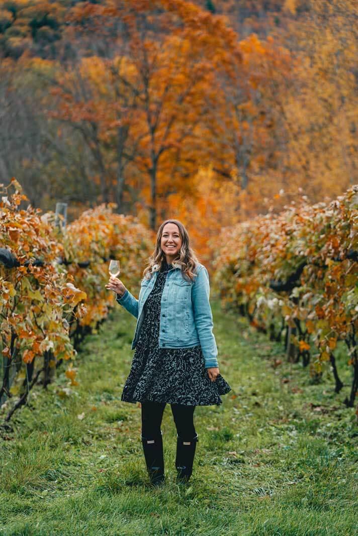 Megan Wine tasting at Benjamin Bridge in Annapolis Valley Nova Scotia
