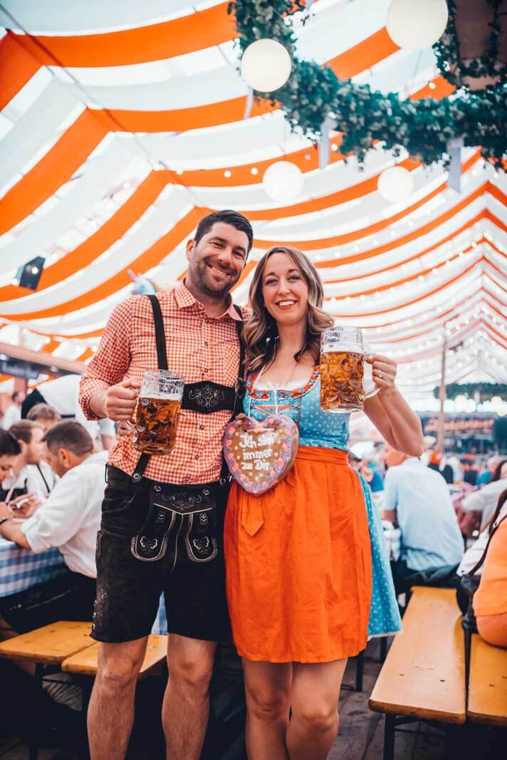 Megan and Scott and Würzburg Germany's beer festival the spring volksfest