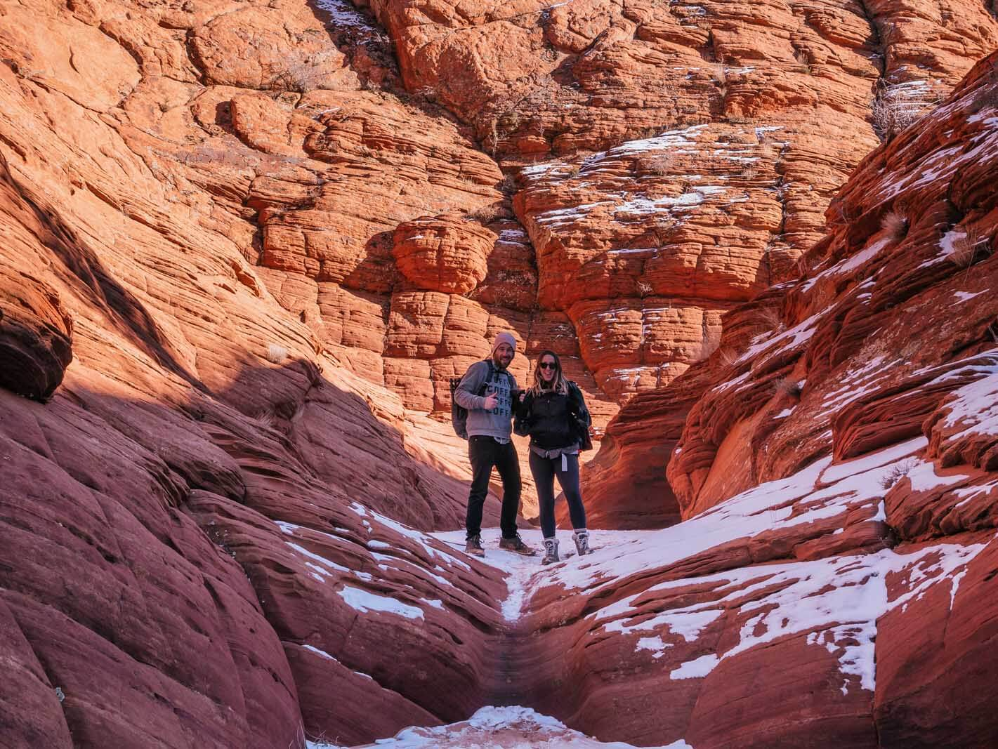 Megan and Scott taking a break from a hike in Coyote Buttes near Kanab Utah