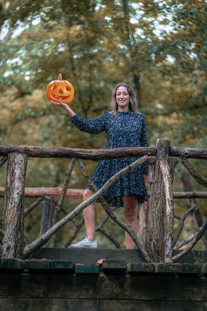 Megan as the pumpkin slinging horseman in Sleepy Hollow