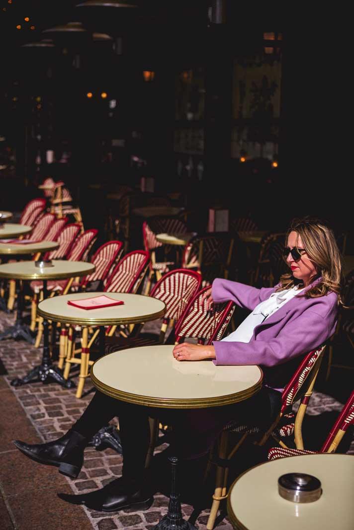 Megan at Cafe outside Forum des Halles in Paris