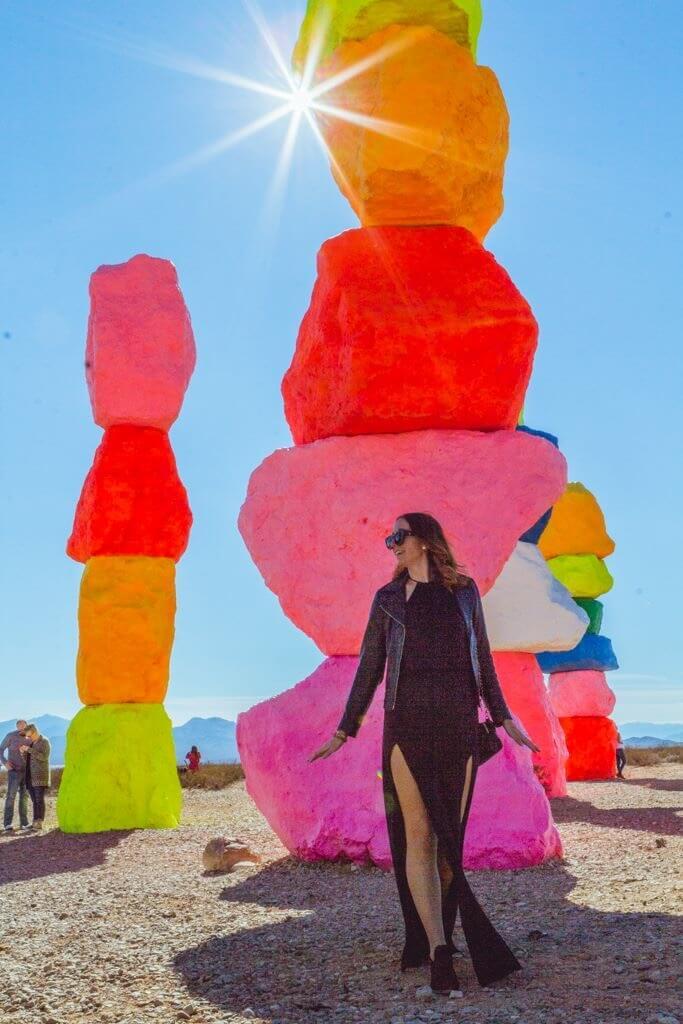 Megan at Seven Magic Mountains outside of Las Vegas