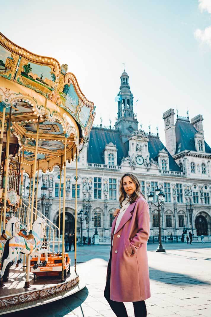 Megan by Carousel in front of hotel de ville in le marais paris
