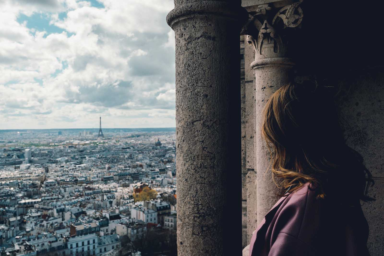 Megan enjoying the view from Basilica of the Sacred Heart in Montmartre Paris