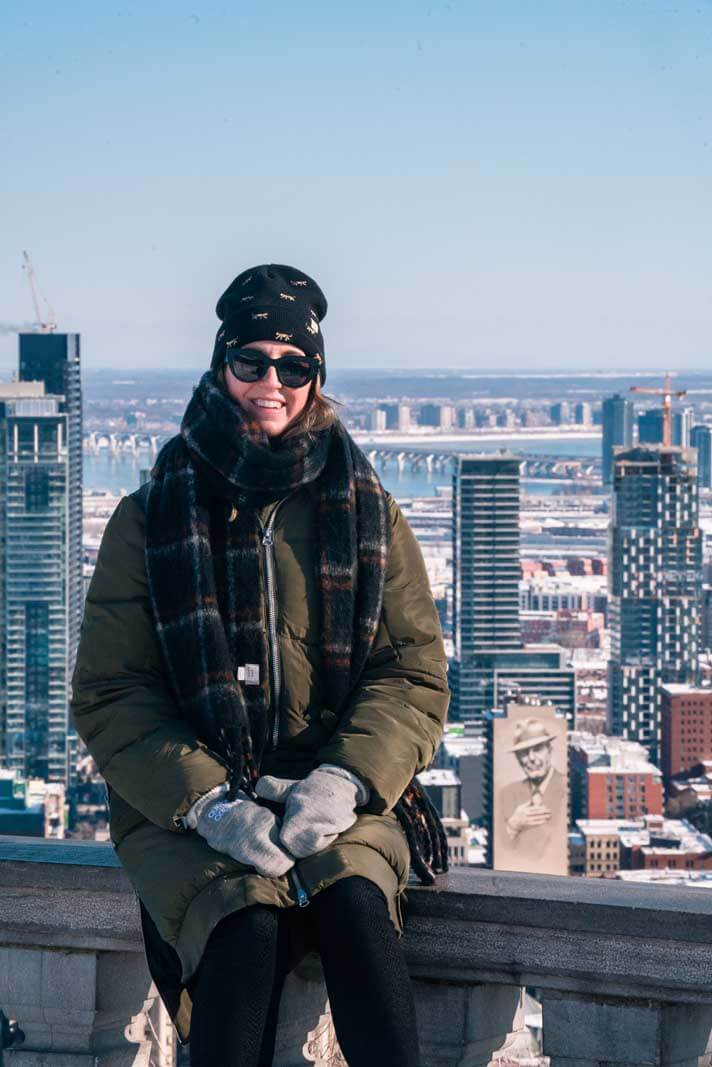 Megan enjoying the view of Montreal from Mont Royal