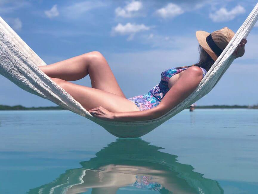 Megan in hammock at Bacalar