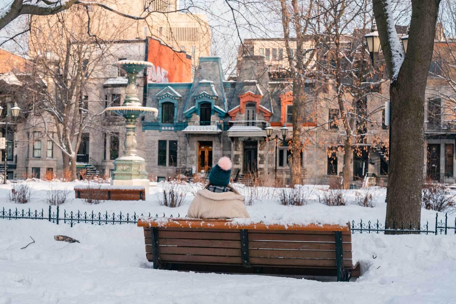 Megan looking at Saint Louis Square in Montreal