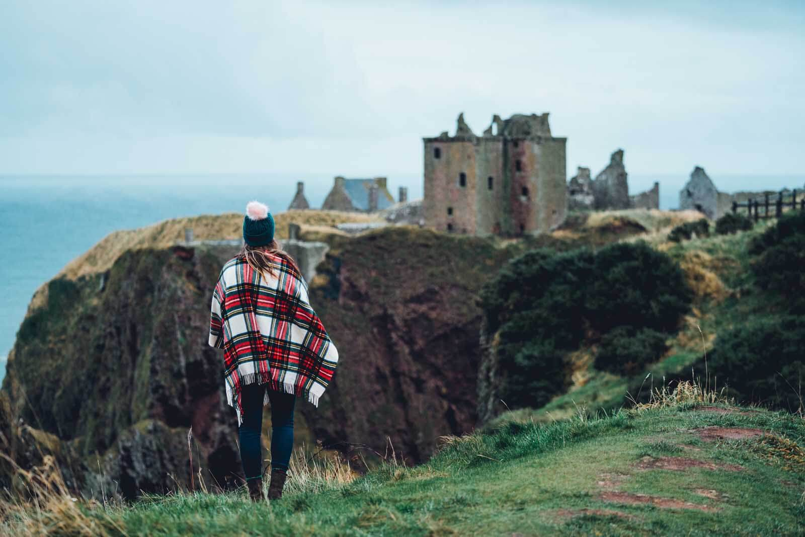 Megan looking at the view at Dunnottar Castle in Stonehaven