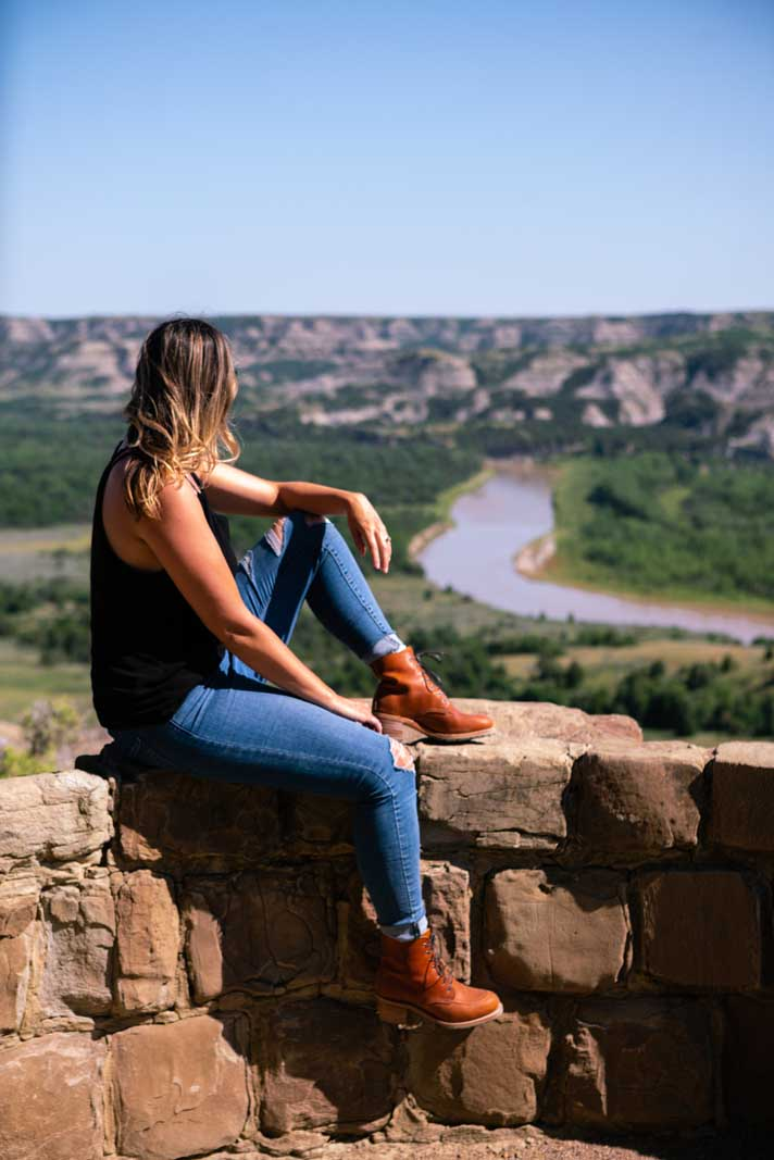 Megan looking at the view at Theodore Roosevelt National Park