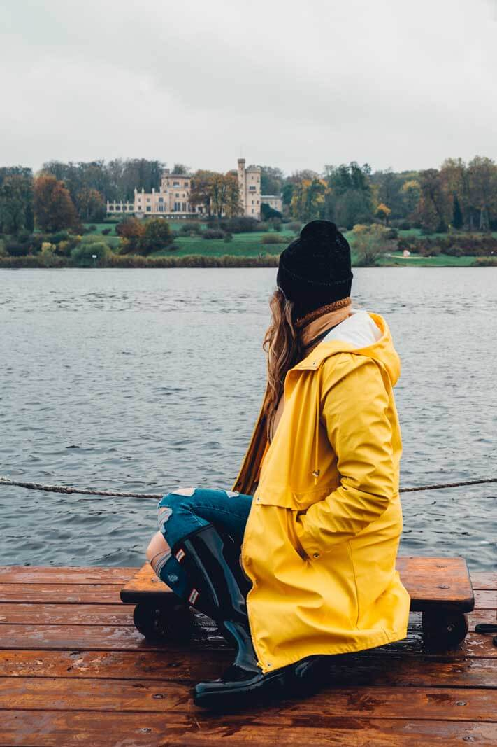 Megan on the huckleberry boat tour in Potsdam Germany looking at Babelsberg Palace