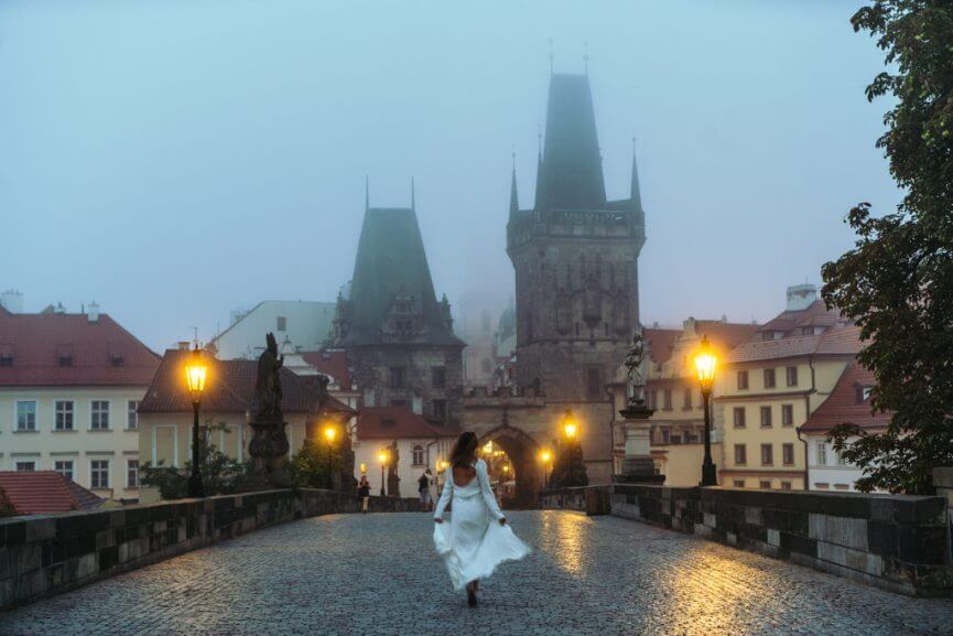 Charles Bridge at early sunrise in Prague