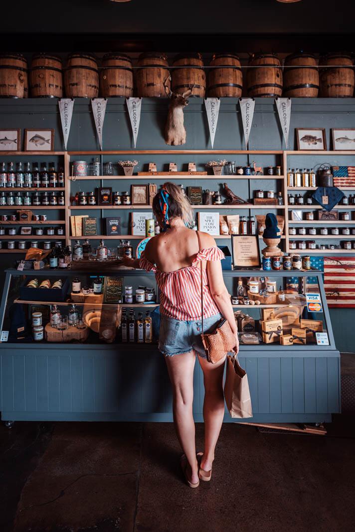 Megan shopping at Catskills Provisions Distillery in Callicoon New York