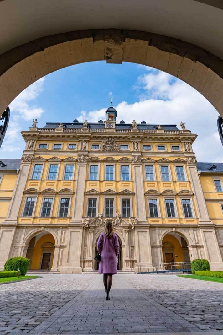 Megan walking around Juliuspital in Wurzburg Germany