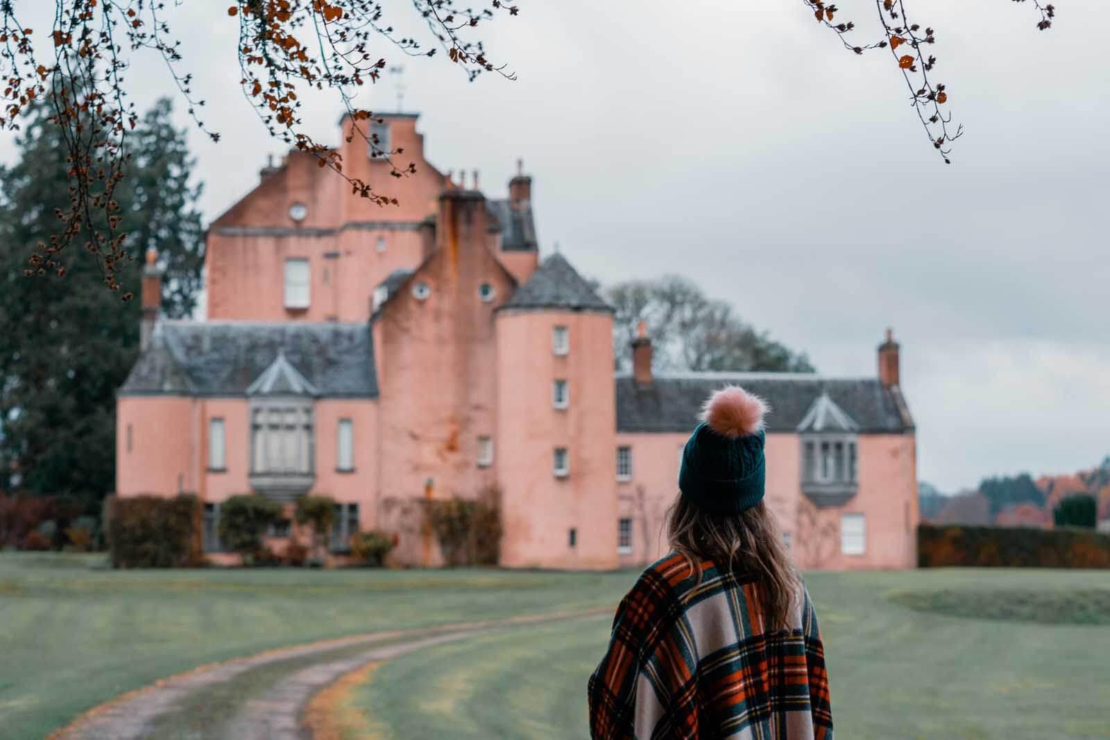 Moneymusk pink castle in Aberdeenshire