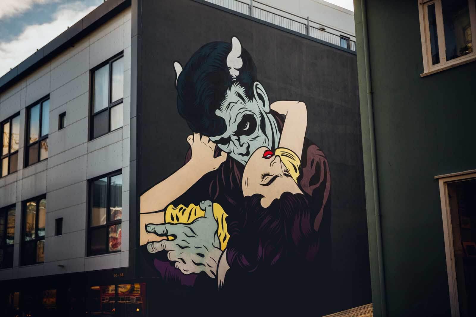 Street Art vampire mural in Reykjavik