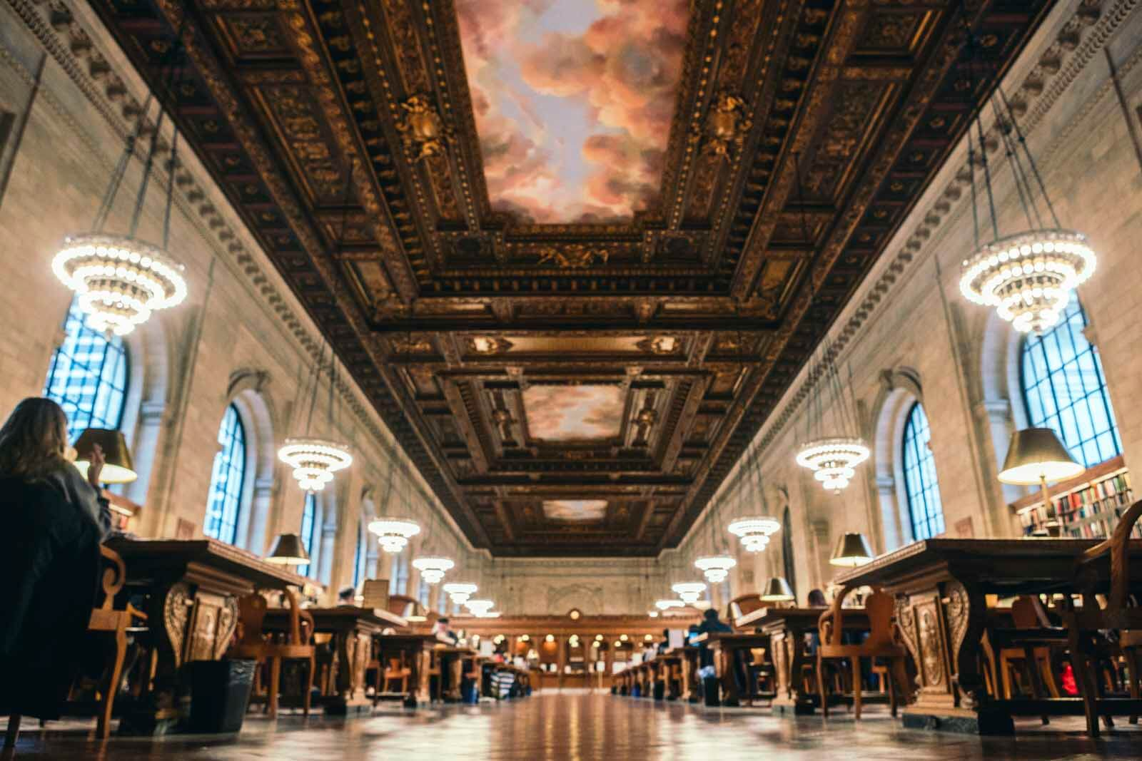 Reading Room inside the New York Public Library