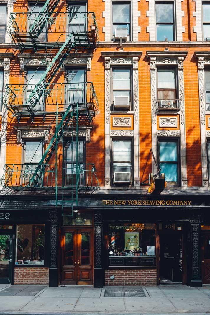 The exterior of the New York Shaving Company in Nolita New York
