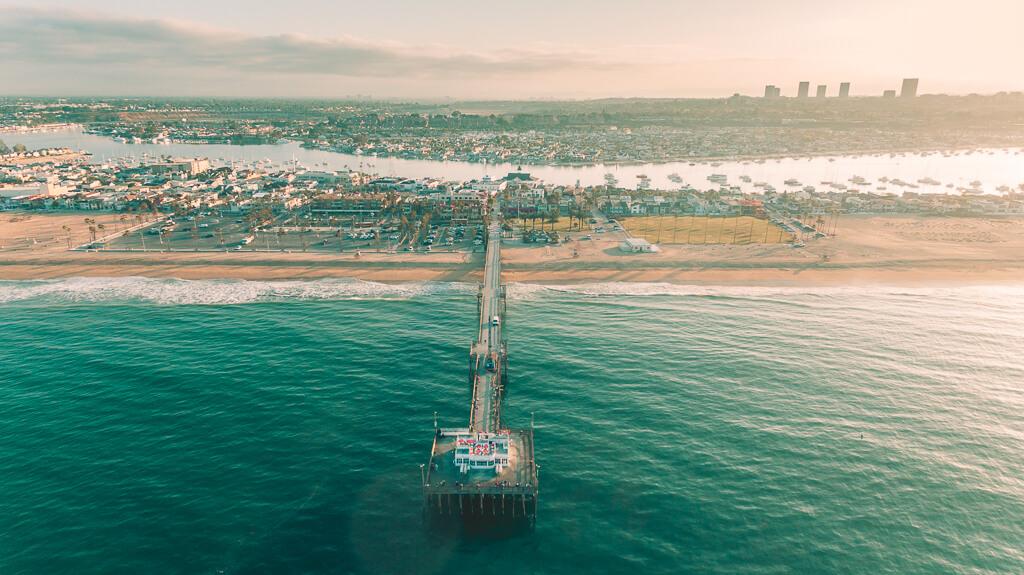 Newport Beach Pier aerial shot