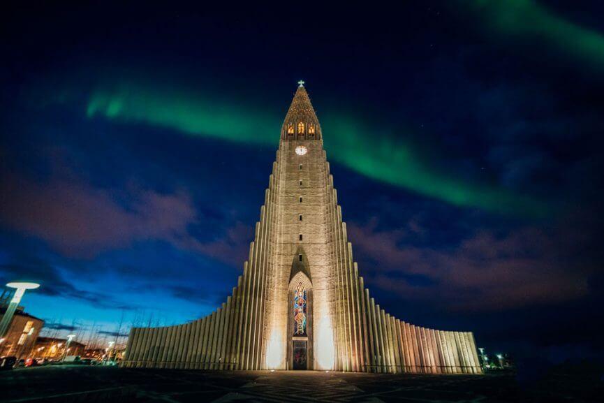 Northern Lights above Hallgrímskirkja in Reykjavik
