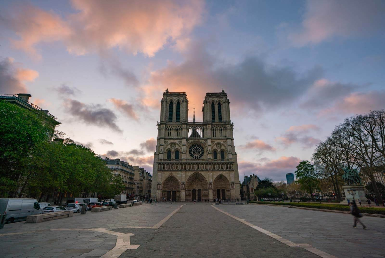 Notre Dame Cathedral in Paris at sunrise a week before the fire