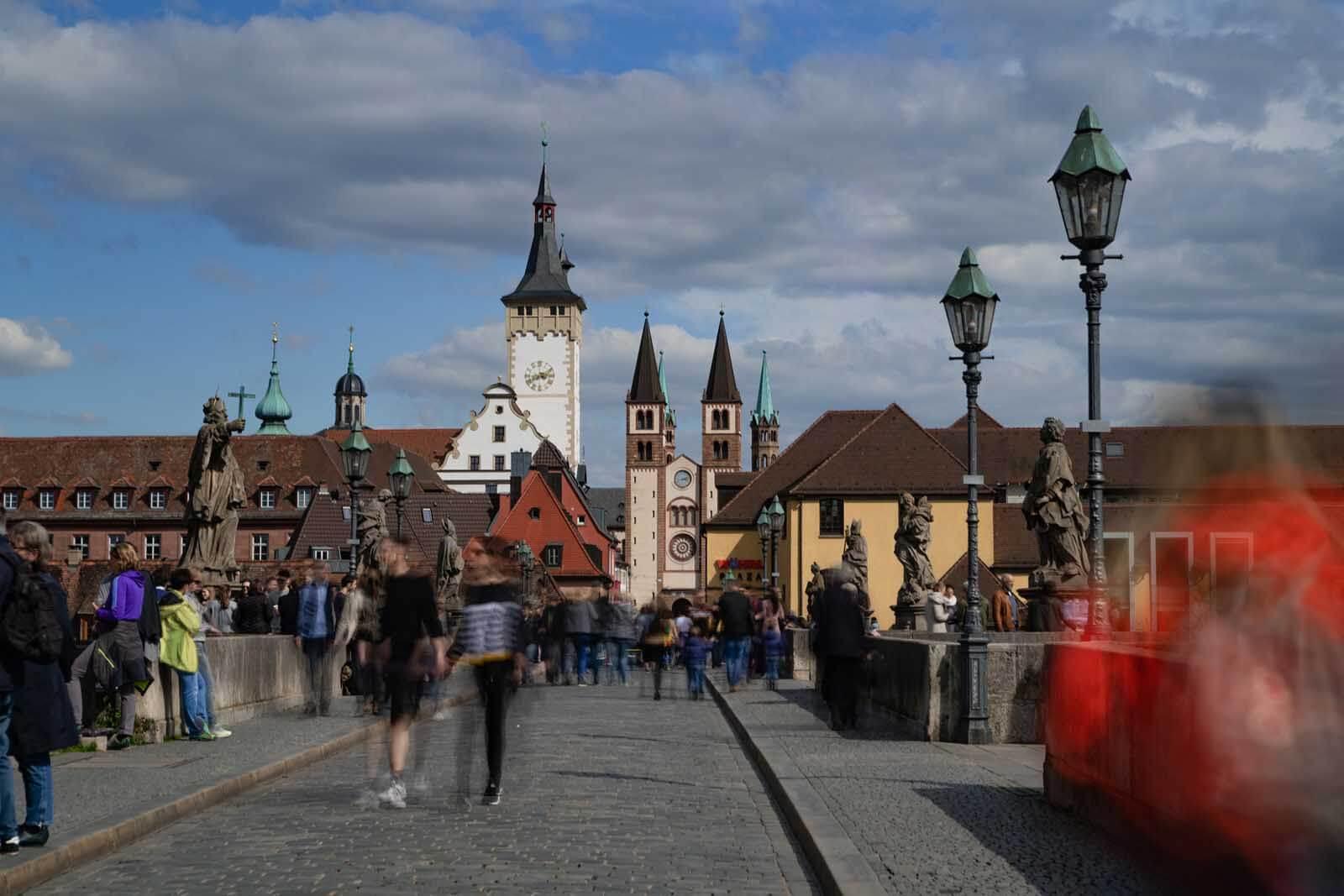 Crossing Old Main Bridge in Würzburg Germany