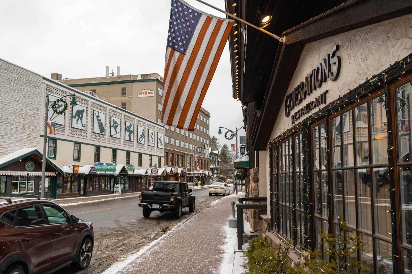 Olympic Museum and shops in downtown Lake Placid New York in the Adirondacks