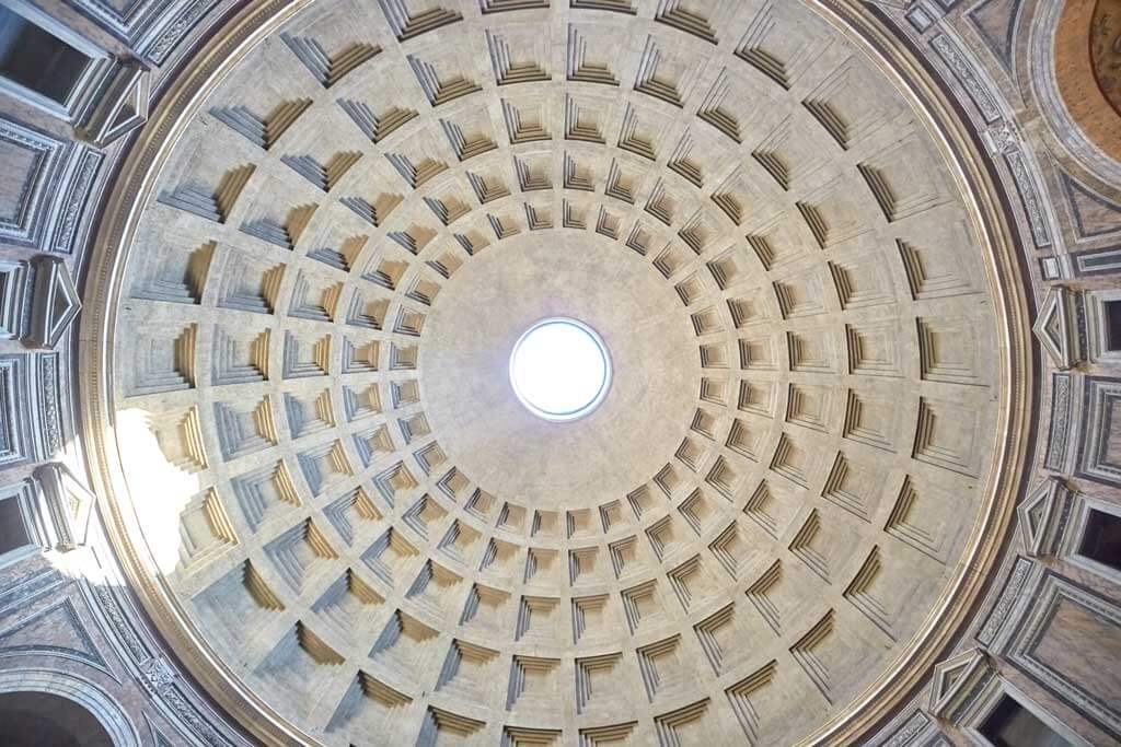 The ceiling in the Pantheon in Rome
