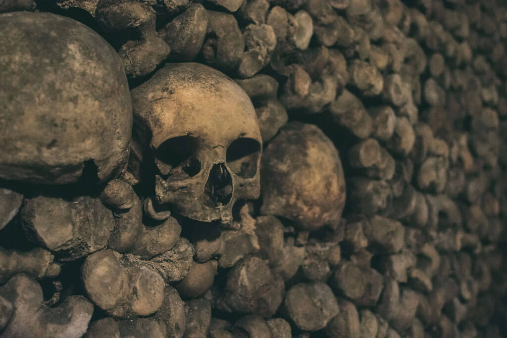 skulls in the catacombs in Paris