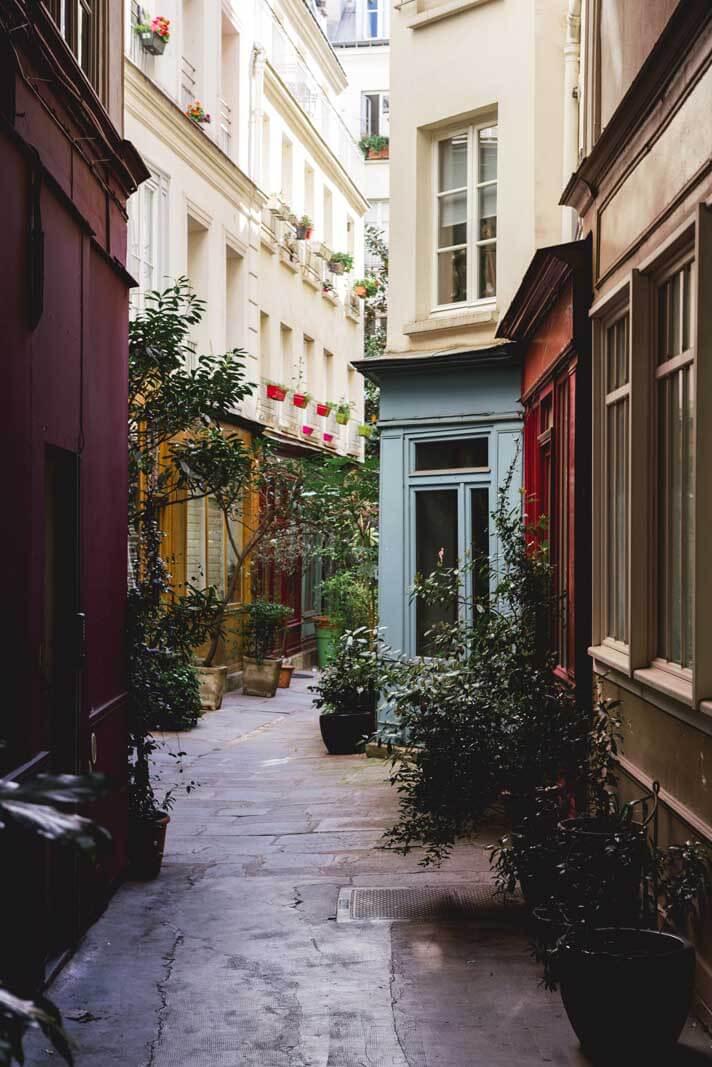 the view down Passage de l'Ancre in Le Marais Paris
