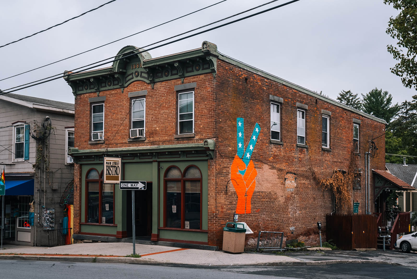 Peace sign mural on a building in downtown New Paltz New York