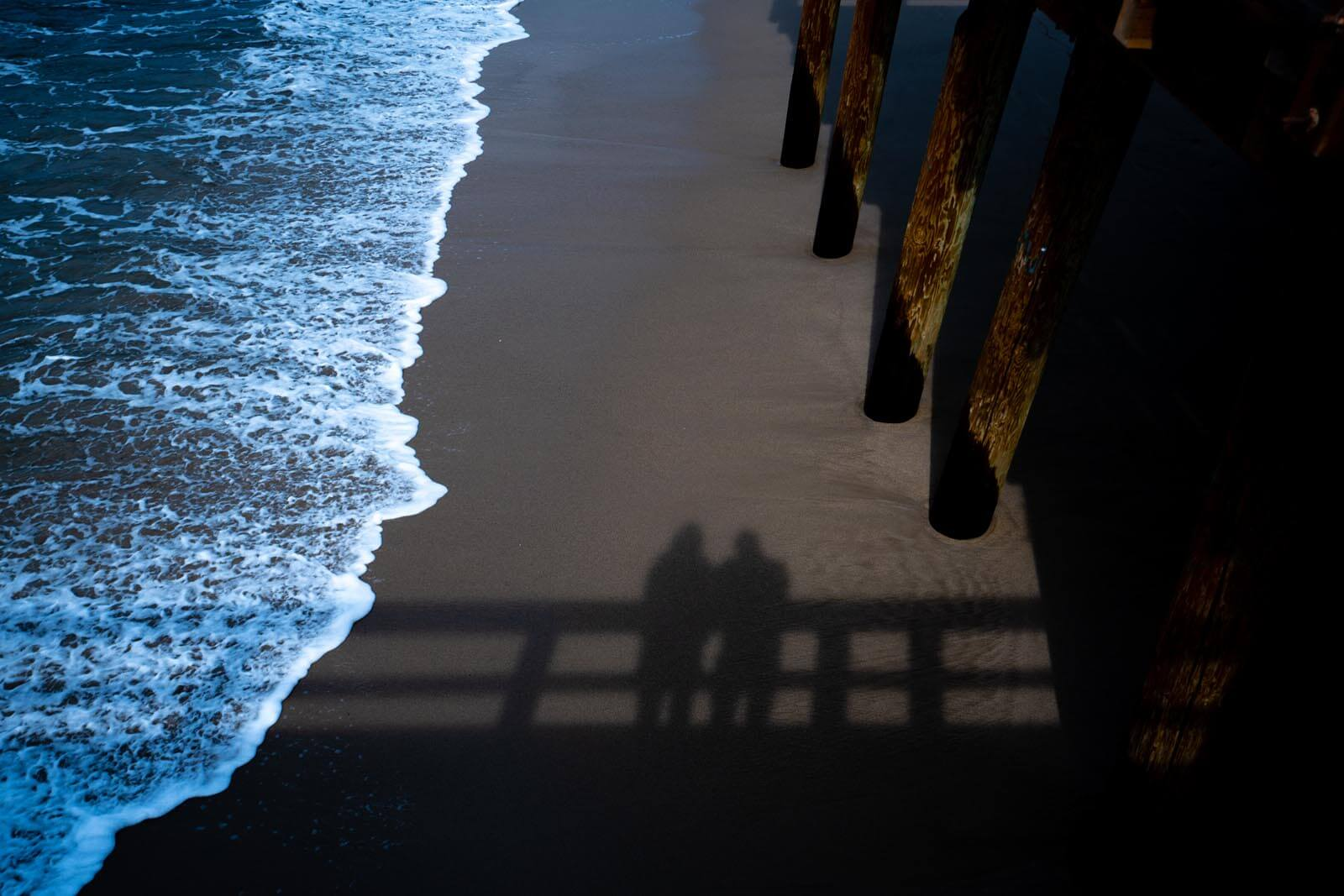 Our shadow in the sand at Port Hueneme Beach Pier