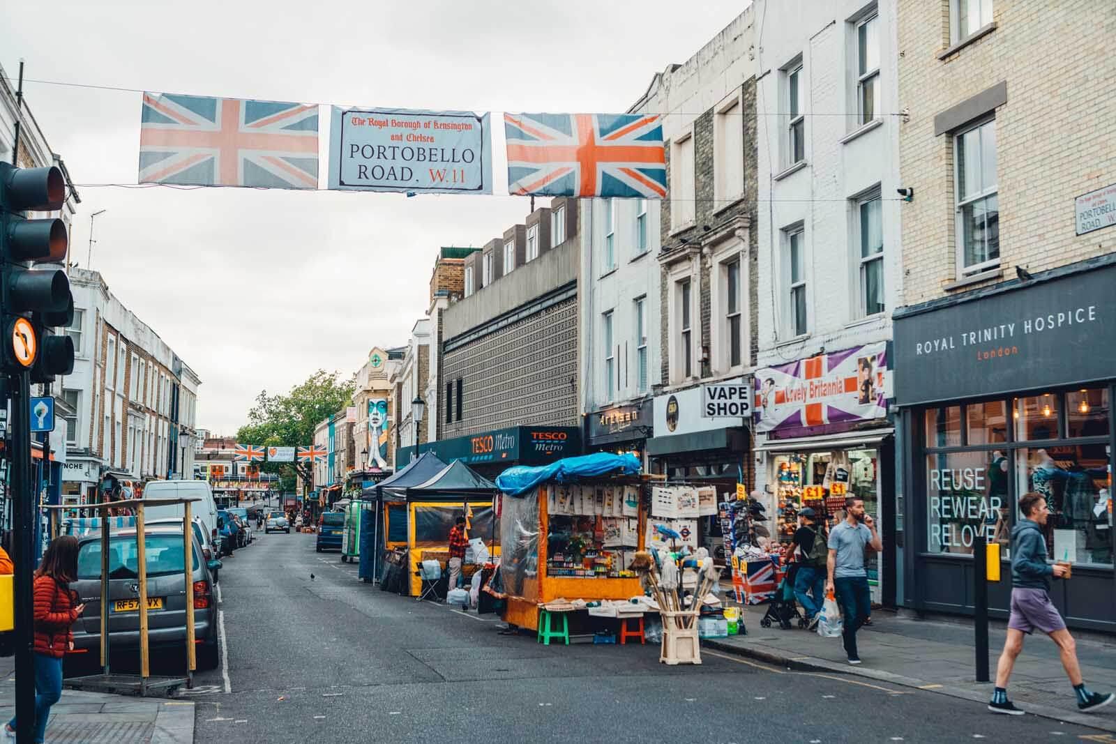 Portobello Market in Notting Hill London