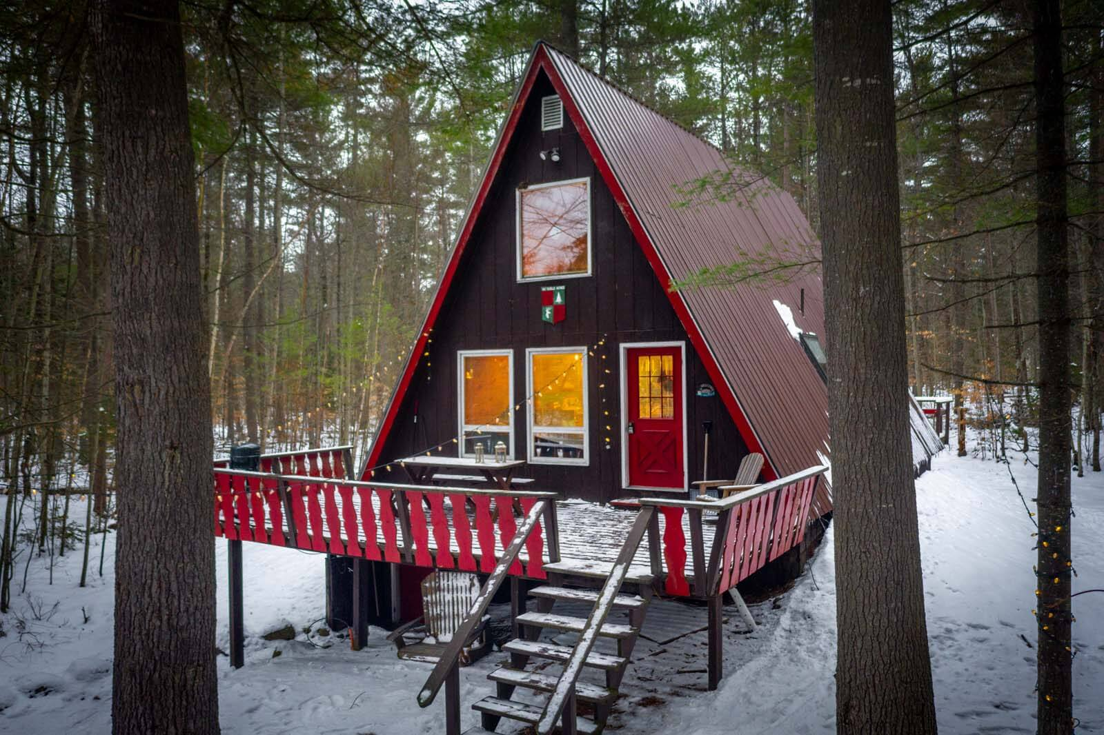 Pretty a Frame Cabin Airbnb in New York adirondacks