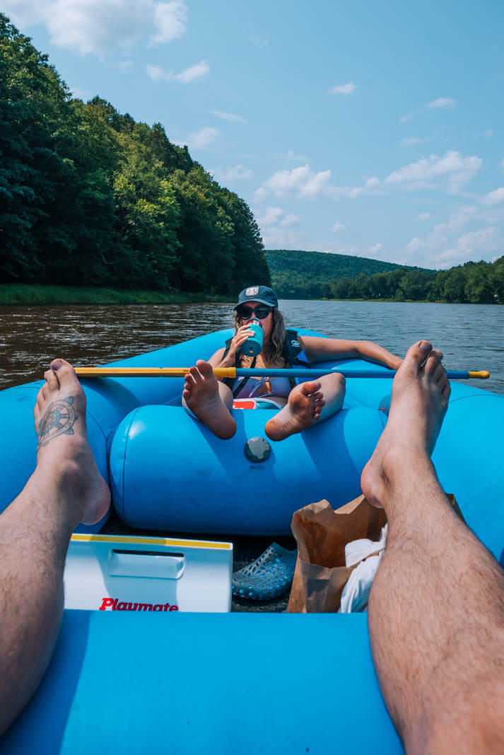 Rafting on the Delaware River near Narrowsburg New York in the Catskills summer vacation