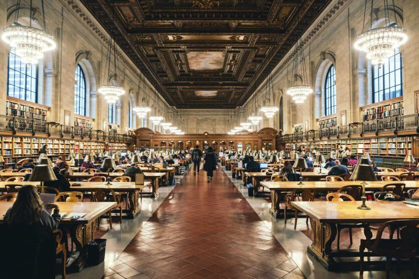 Reading Room in New York Central Library at Bryant Park in NYC