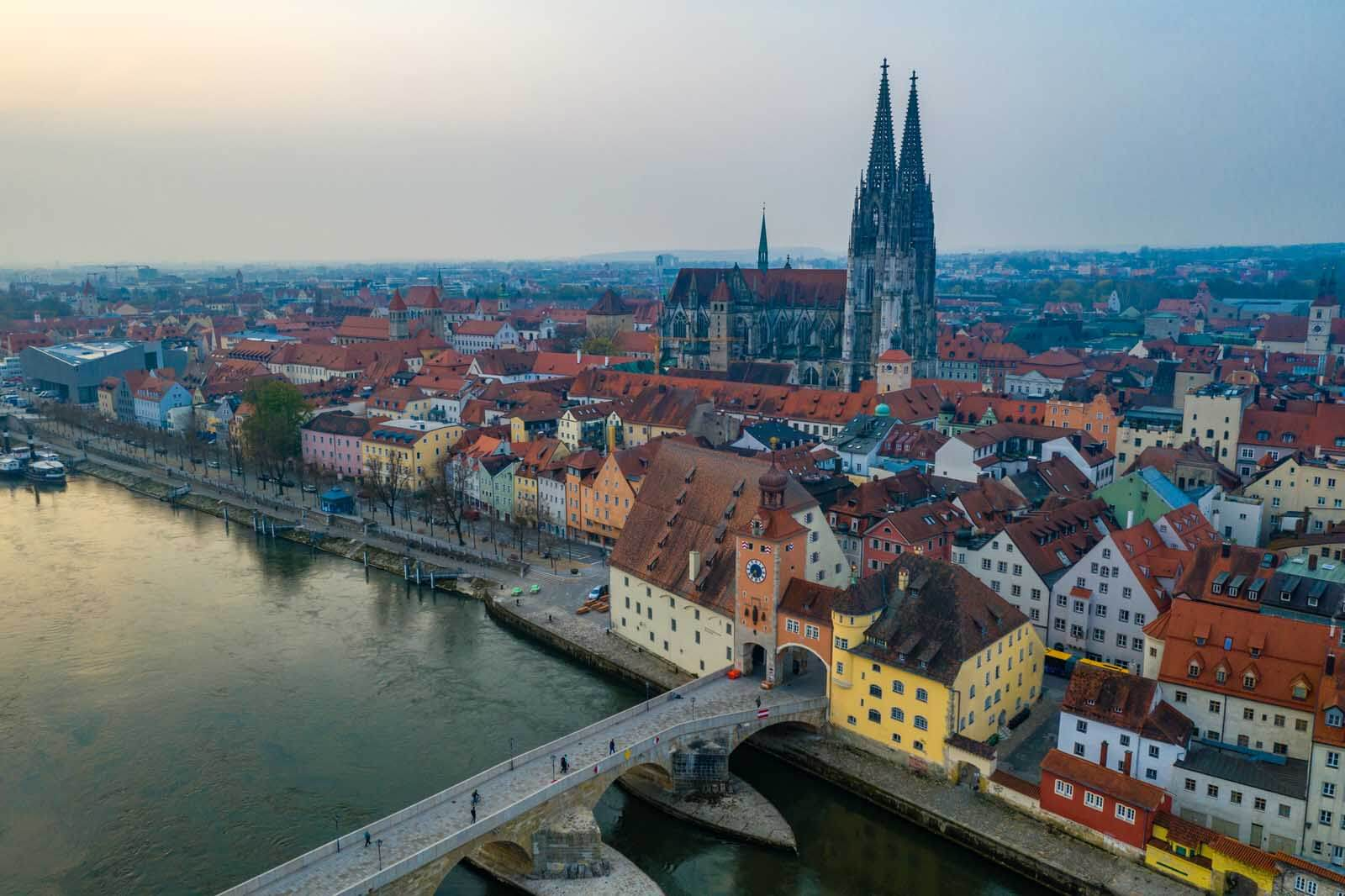 View of Regensburg Germany from above