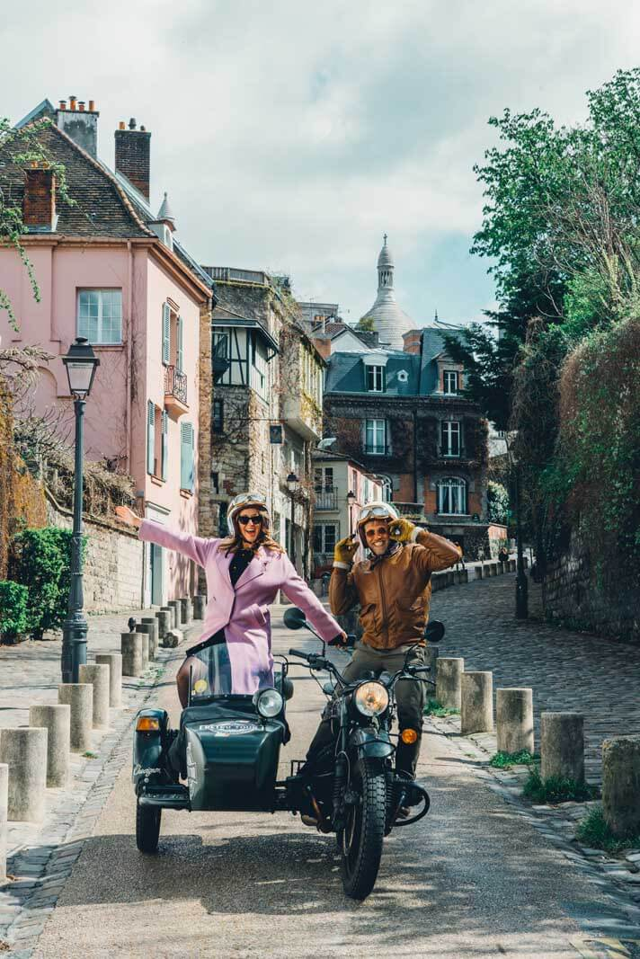 Retro Tours in Paris on a vintage motorcycle driving us through Montmartre
