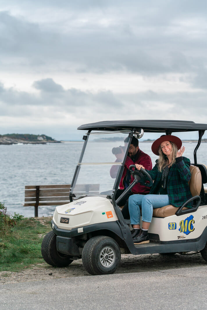 Riding our golf cart around Peaks Island at Portland Maine
