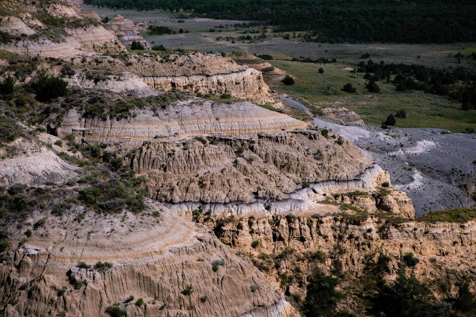 Rock formations and views at Theodore Roosevelt National Park North Unit in North Dakota